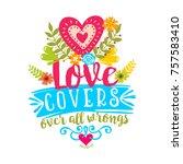 bible lettering. christian art. ... | Shutterstock .eps vector #757583410