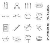 set of eyelashes related vector ... | Shutterstock .eps vector #757583503