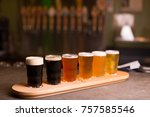 close up of craft beer tasting... | Shutterstock . vector #757585546