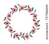 cute wreath with leaves  pink... | Shutterstock . vector #757586044