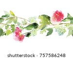 seamless summer pattern with... | Shutterstock . vector #757586248
