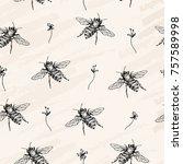 vector seamless pattern. bees... | Shutterstock .eps vector #757589998