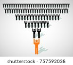 a team of wo working people led ... | Shutterstock .eps vector #757592038