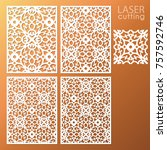 laser cut ornamental panel set... | Shutterstock .eps vector #757592746