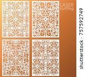 laser cut ornamental panel set... | Shutterstock .eps vector #757592749