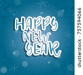happy new year sale sign banner ... | Shutterstock .eps vector #757594066