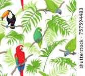 seamless pattern with tropical... | Shutterstock .eps vector #757594483