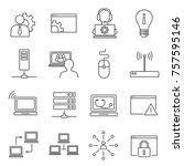 set of system administrator... | Shutterstock .eps vector #757595146