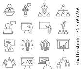 set of speaker related vector... | Shutterstock .eps vector #757595266