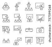 set of presenter related vector ... | Shutterstock .eps vector #757599268