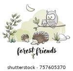 cute forest animal szene with