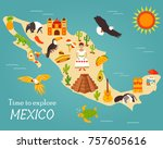 bright map of mexico with... | Shutterstock .eps vector #757605616