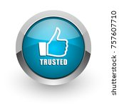 trusted blue silver metallic... | Shutterstock . vector #757607710