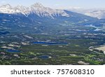 Aerial view of Jasper lakes and Pyramid mountain from the top of Whistler mountain - Jasper national park, Alberta, Canada