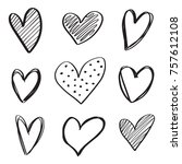 set of 6 handdrawn hearts... | Shutterstock .eps vector #757612108