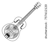 resonator guitar  folk guitar ...   Shutterstock .eps vector #757612120