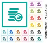 euro coins flat color icons... | Shutterstock .eps vector #757615213
