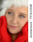 young woman with red gloves in...   Shutterstock . vector #757615348