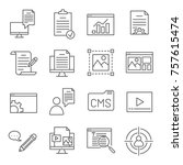 set of content manager related... | Shutterstock .eps vector #757615474