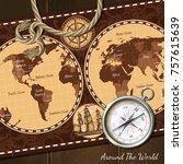 nautical world retro map in... | Shutterstock . vector #757615639