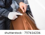 car wrapping specialist putting ... | Shutterstock . vector #757616236