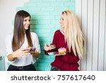 two beautiful young women...   Shutterstock . vector #757617640