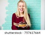 beautiful young woman enjoying...   Shutterstock . vector #757617664