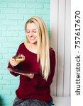 beautiful young woman enjoying...   Shutterstock . vector #757617670