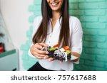 beautiful young woman enjoying...   Shutterstock . vector #757617688