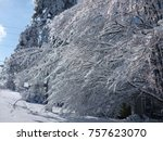 beautiful christmas snowy day    Shutterstock . vector #757623070