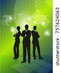 group of businessmen on an... | Shutterstock .eps vector #757624063