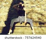 young beautiful woman in...   Shutterstock . vector #757624540