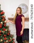 beautiful young woman...   Shutterstock . vector #757625140