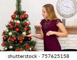 beautiful young woman...   Shutterstock . vector #757625158