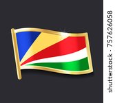 flag of  seychelles in the form ... | Shutterstock .eps vector #757626058