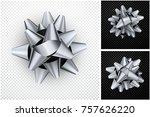 isolated realistic silver satin ... | Shutterstock .eps vector #757626220