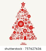 red christmas tree on light... | Shutterstock .eps vector #757627636