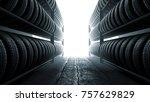3d illustration  car tires rack ...   Shutterstock . vector #757629829
