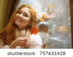 christmas portrait of a red...   Shutterstock . vector #757631428