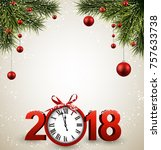 2018 new year background with... | Shutterstock .eps vector #757633738