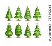 christmas tree 3d  illustrarion ...   Shutterstock . vector #757643368