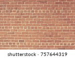 old red brick wall background... | Shutterstock . vector #757644319
