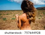 back of beautiful woman on the...   Shutterstock . vector #757644928