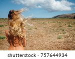 back of beautiful woman on the...   Shutterstock . vector #757644934