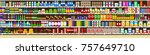 full shelves of meals | Shutterstock .eps vector #757649710