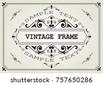 vintage frame with beautiful... | Shutterstock .eps vector #757650286