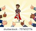 superhero businessman in vest...   Shutterstock .eps vector #757652776