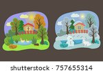 seasons winter and autumn | Shutterstock .eps vector #757655314
