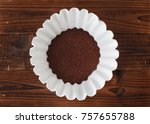 coffee filter and grounds on... | Shutterstock . vector #757655788