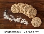 oatmeal cookies and flour on... | Shutterstock . vector #757655794